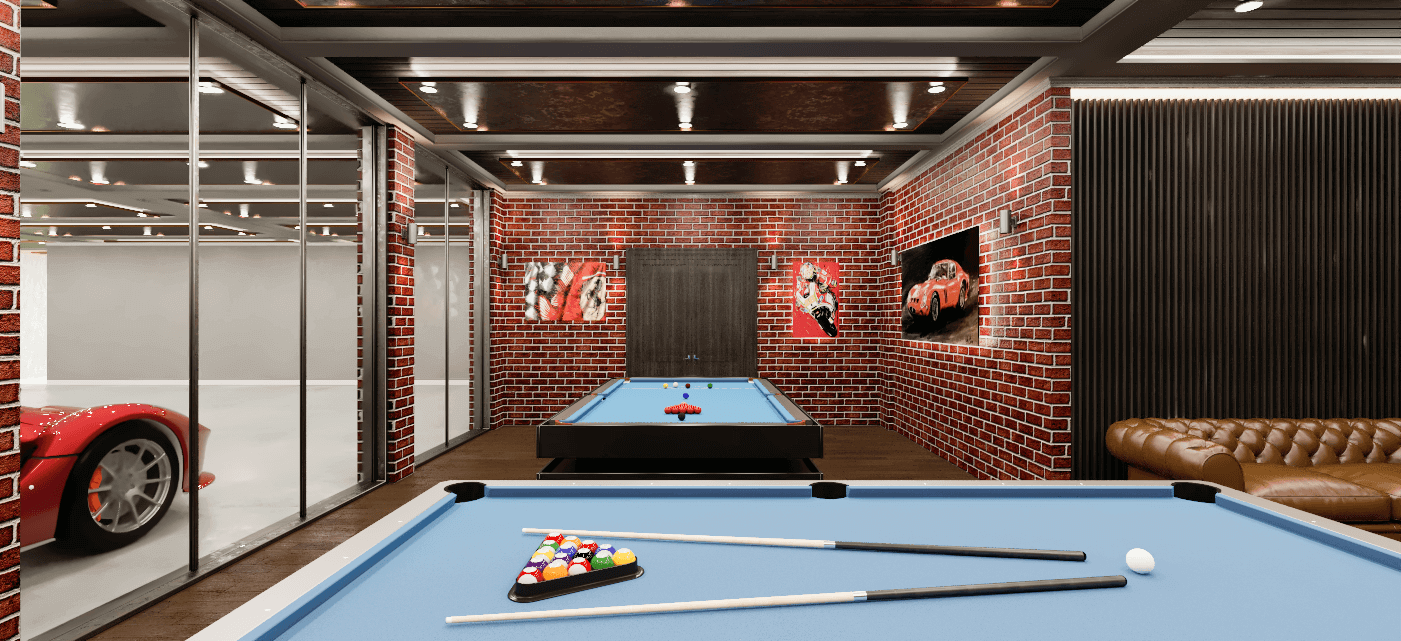 Two pool tables with images of motor vehicles on the walls